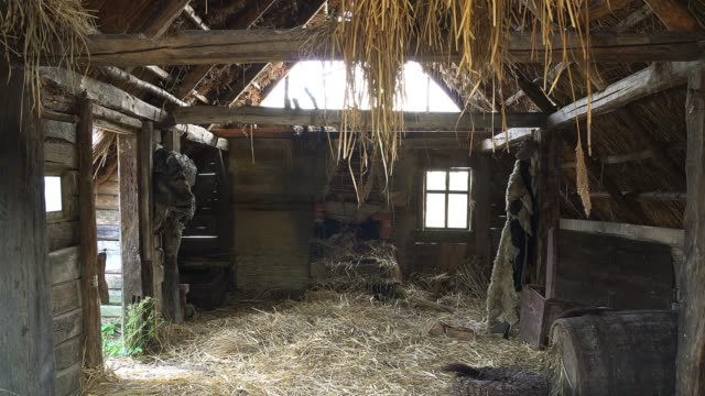 inside in old wooden house abandoned wooden structures covered with straw,  Old rural country wooden house in village barns stock videos & royalty-free footage
