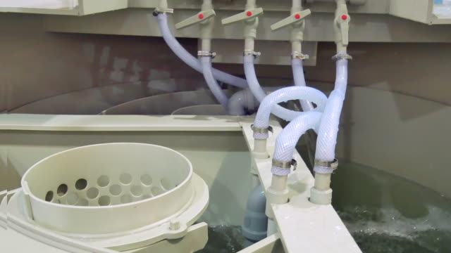 inside industrial autonomous sewage system. equipment produce clear water out of human waste
