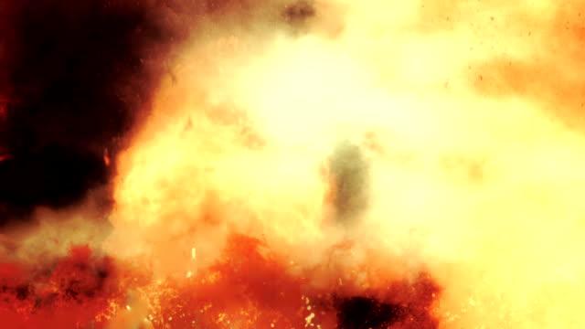 wewnątrz wulkanicznego wybuch między płomieni ognia i dymu - venus filmów i materiałów b-roll