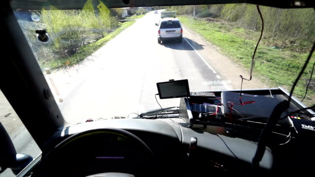 Inside of Cabin View of the Professional Truck Driver video