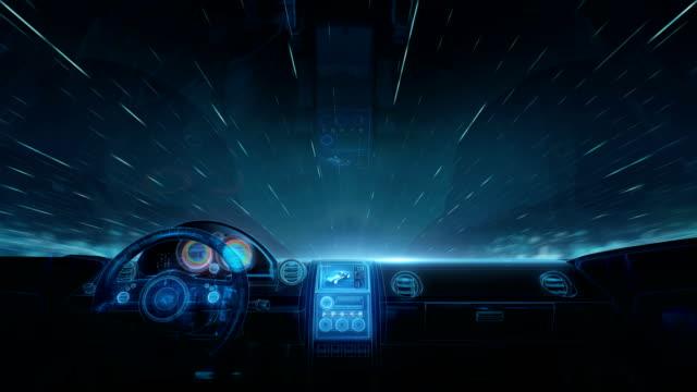 stockvideo's en b-roll-footage met binnenkant van future hybrid cars hologram display. - visuele hulpmiddelen