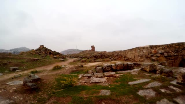 Inside Ruins of Urfa Castle Snow and Rain video