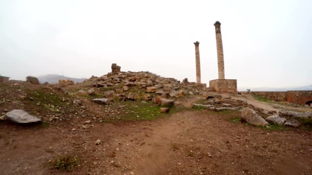 Inside Ruins of Urfa Castle Two Columns Snow and Rain video