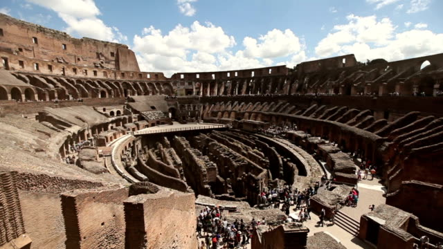 Inside the Coliseum of Rome Inside the coliseum, where gladiators once fought. sepia toned stock videos & royalty-free footage