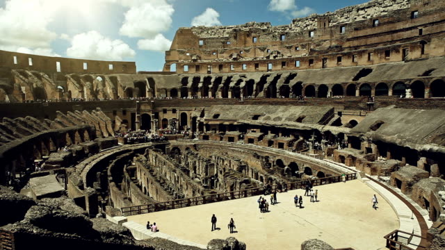 Inside the Coliseum Inside the coliseum, where gladiators once  fought. sepia toned stock videos & royalty-free footage