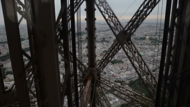 Inside the Eiffel Tower in Paris France video