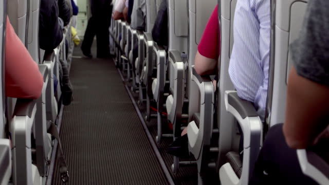 inside view of airplane aisle during flight. passengers in their seats, cabin crew starts service - sedili aereo video stock e b–roll
