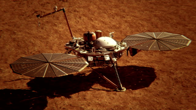 4K NASA InSight Lander on the Surface of Mars.  (Elements furnished by NASA) video