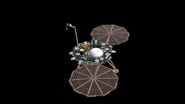 wbudowane ramię paneli insight - obrót widoku z góry - badawczy statek kosmiczny filmów i materiałów b-roll