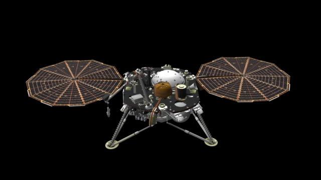 panele insight ramię rozmieszczone-pomniejszanie - badawczy statek kosmiczny filmów i materiałów b-roll
