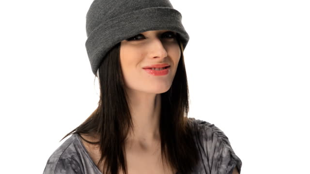 Insolent but beautiful teenager girl in a cap video