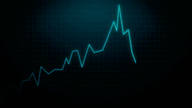 Insolvency Stock Market Crash of Loosing Investment Animation 4k Video on Blue Background.