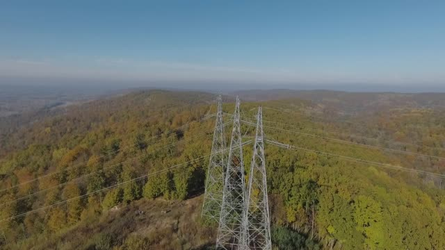 Inspection of metal supports of high-voltage power line with a drone.