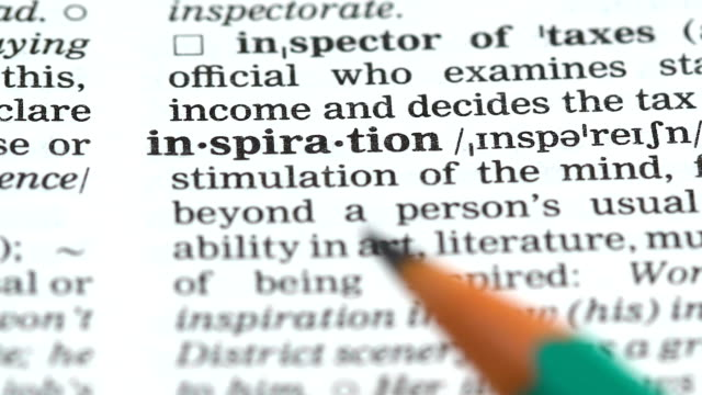 inspiration word definition in english dictionary, ability to create artwork - parola video stock e b–roll