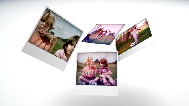 stockvideo's en b-roll-footage met instant photos of children having fun in a park - polaroid