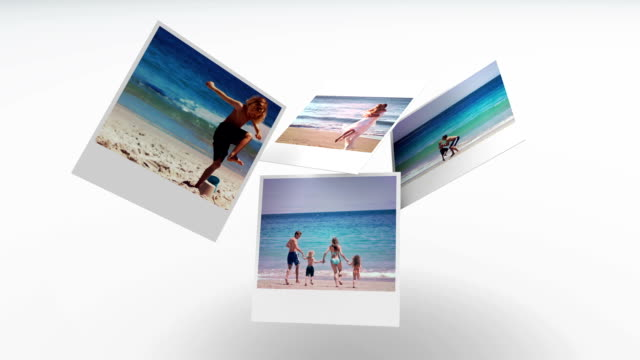 stockvideo's en b-roll-footage met instant photos of summer scenes floating - polaroid