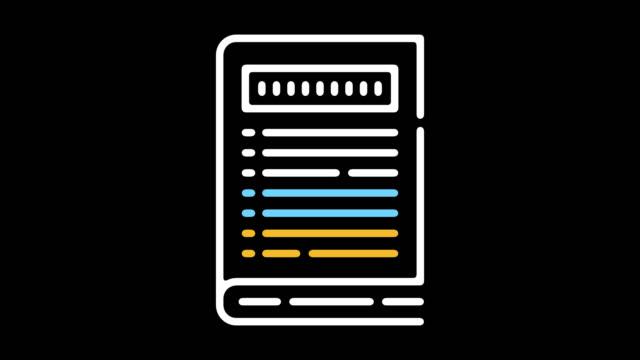 Instruction Handbook Line Icon Animation with Alpha