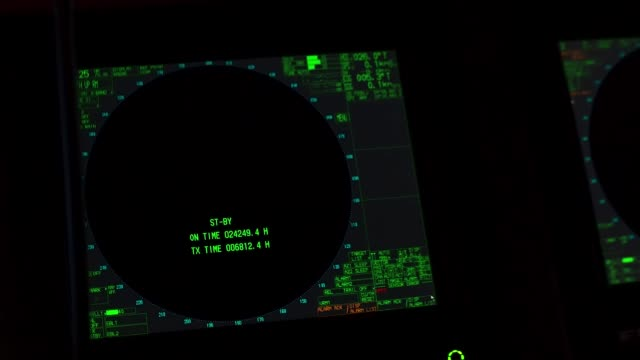 Instrument panel of ship in twilight, in lamplight. Close-up video