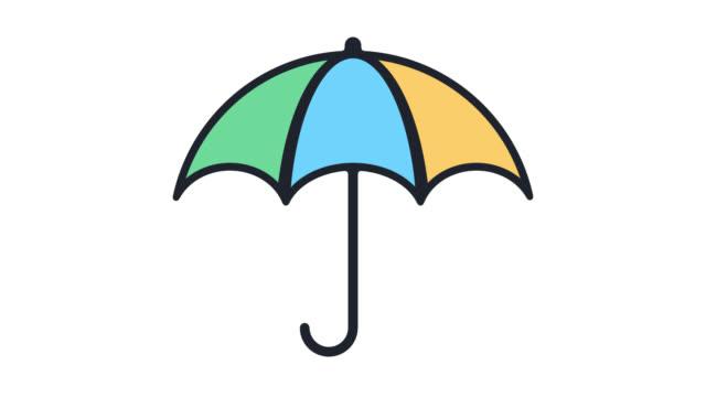 vídeos de stock e filmes b-roll de insurance policy flat line icon animation with alpha - escudo