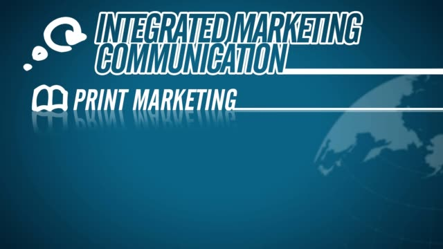 Integrated Marketing Communication video illustration on blue in HD