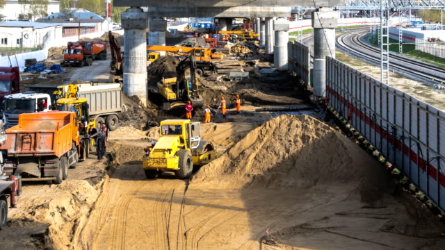 intensive work on the construction of a high-speed overpass, time lapse