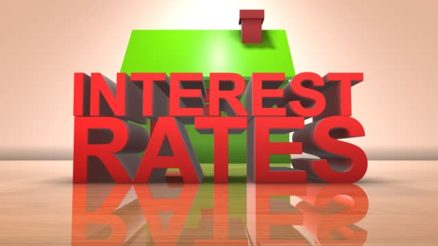 Interest rate on housing property market and mortgage 3D animation title
