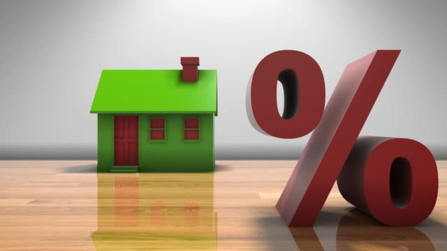 Interest rates on real estate property market and home loans 3D animation