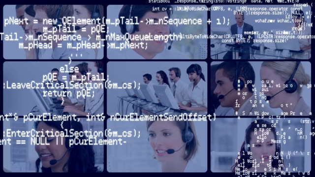 interface codes and a screens of call centre agents working - shifts call centre video stock e b–roll