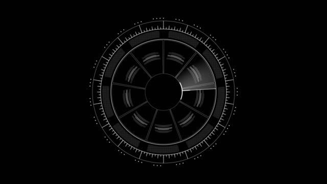 vídeos de stock, filmes e b-roll de interface de hud branco sobre preto 4k de giro prestados imagens de vídeo de animação. - grade padrão