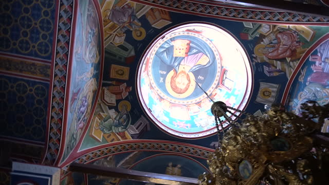 Interior architecture of a Macedonian Orthodox church