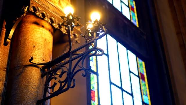 stockvideo's en b-roll-footage met interieur kerk lichte venster - klooster