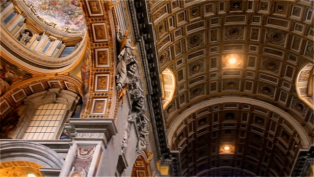 interior decoration of the cathedral of san petro in the vatican italy - cathedrals stock videos & royalty-free footage