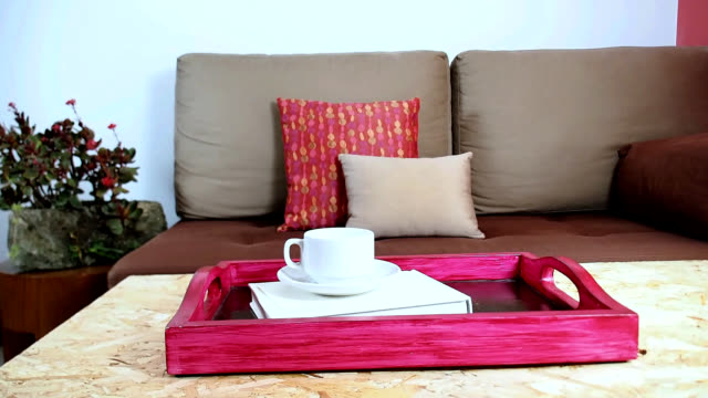 Interior design of modern Living room decoration Interior design of modern Living room with colorful light meal tray/ still life & redecoration conceptual tray stock videos & royalty-free footage