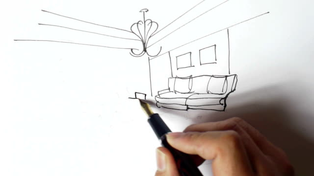 Interior design sketches,Hand-painted video