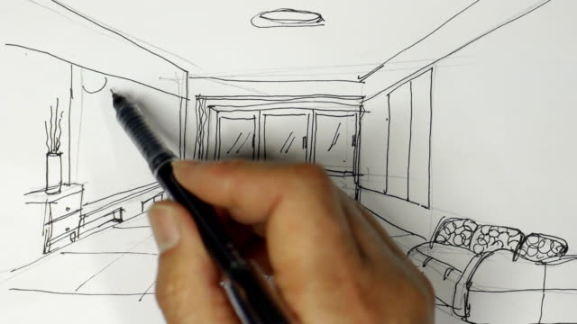 Interior designer sketches on white paper Interior designer sketches on white paper interior designer stock videos & royalty-free footage