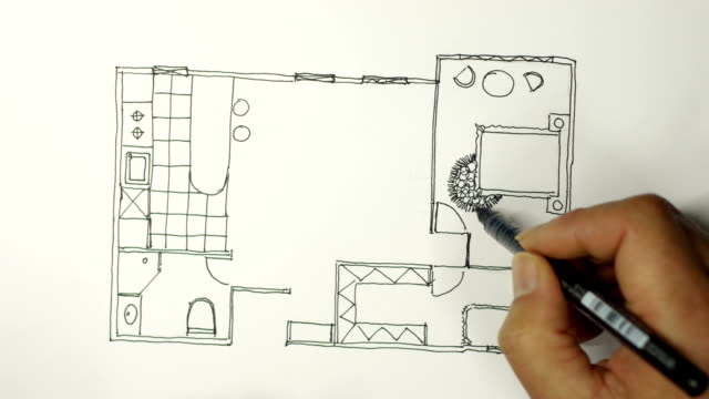 Interior designer sketches on white paper Interior designer sketches on white paper black and white architecture stock videos & royalty-free footage