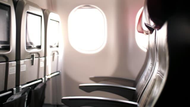Interior inside of Airplane in cabin passenger