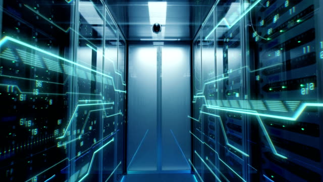 Interior of a futuristic data center Dolly shot of the interior of a data center with glowing circuit board lines running through the corridor server room stock videos & royalty-free footage