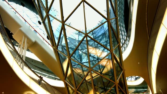 Interior Of A Futuristic Shopping Mall (4K/UHD to HD) video