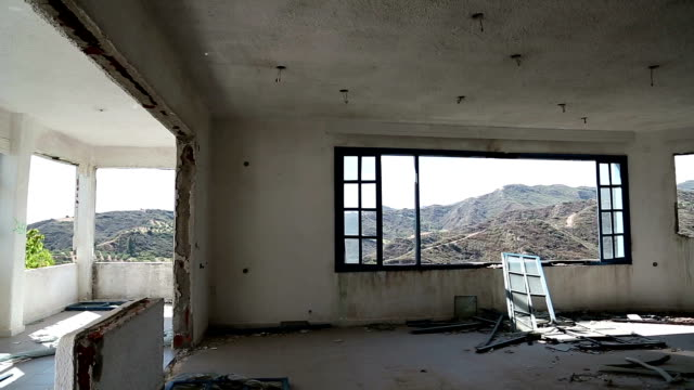 Interior of abandoned hotel video