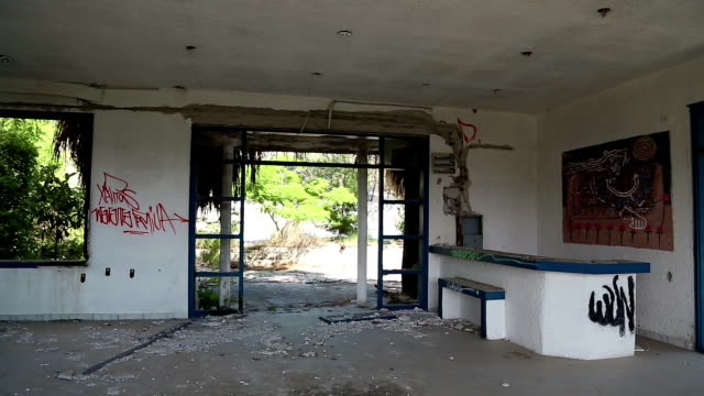 Interior of an abandoned hotel video