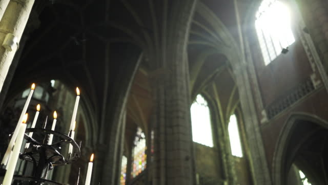 interior of ancient cathedral - neo gothic architecture stock videos & royalty-free footage
