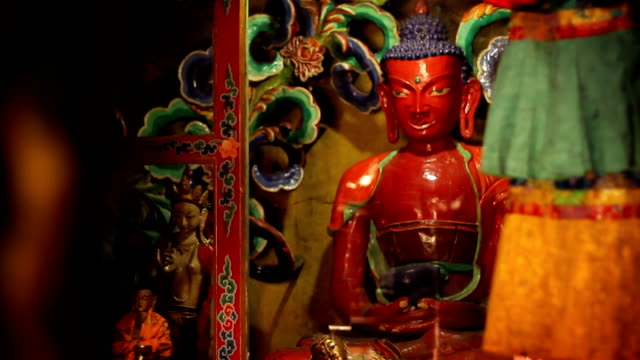 Interior of budhist temple in Nepal's Mustang region. video