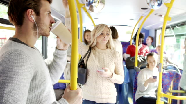 Interior Of Bus With Passengers video