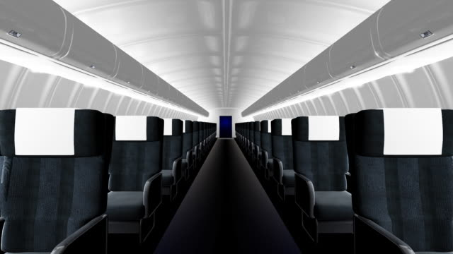 Interior of commercial airliner video