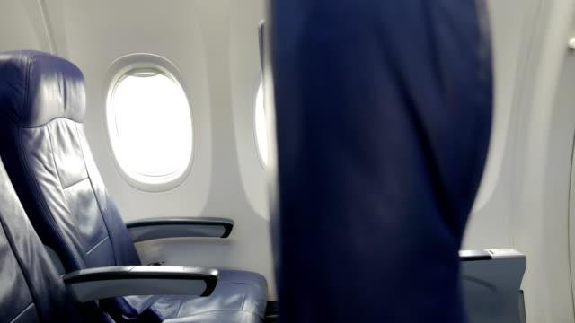 民間航空機キャビン助手席のインテリア。 ビデオ