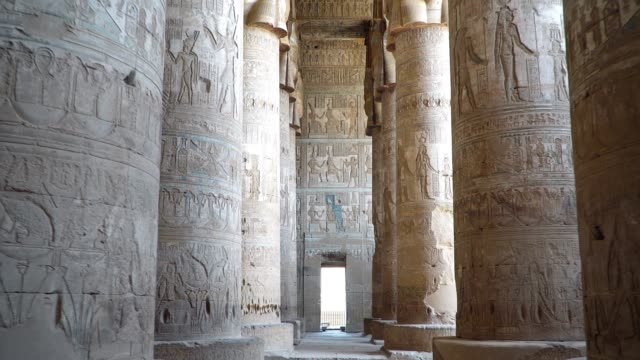 Interior of Dendera temple or Temple of Hathor. Egypt