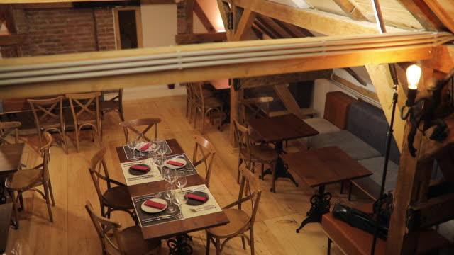 Interior of empty modern restaurant