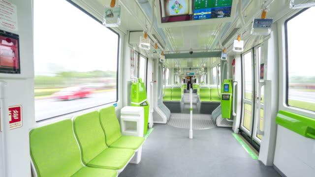 interior of high-speed train. timelapse 4k video