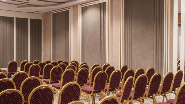 Interior of modern conference hall Interior of modern conference hall wide angle stock videos & royalty-free footage